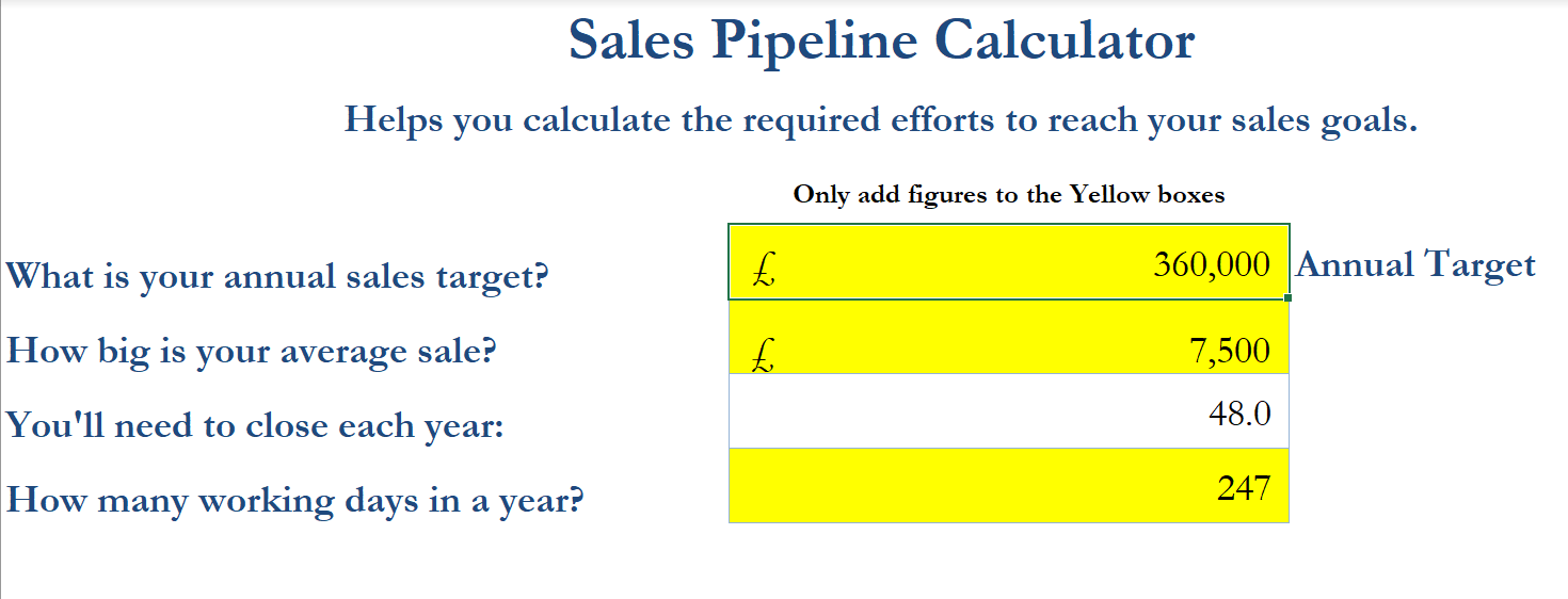 Sales Pipeline Calculator Step 1