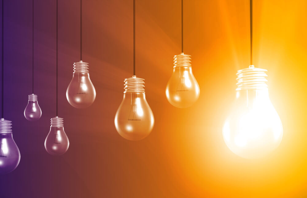 sales mindset lightbulbs